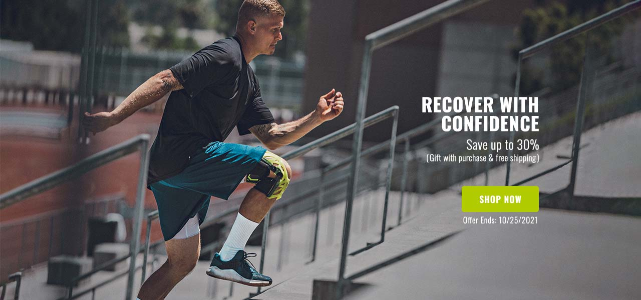 Recover with Confidence - Save up to 30% - athlete wearing knee brace