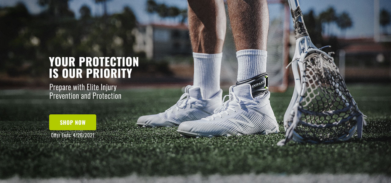 Your Protection Is Our Priority - lacrosse athlete wearing ankle brace